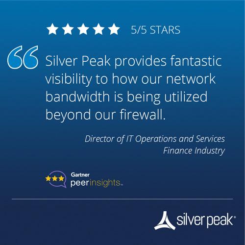 Gartner peerinsights rating for Silver Peak in Finance Industry