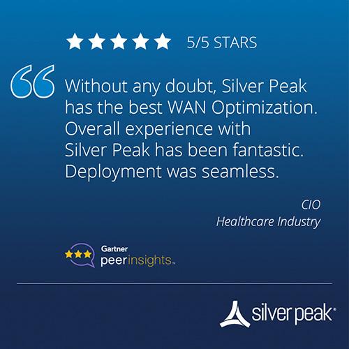 Gartner peerinsights rating for Silver Peak  in Healthcare Industry
