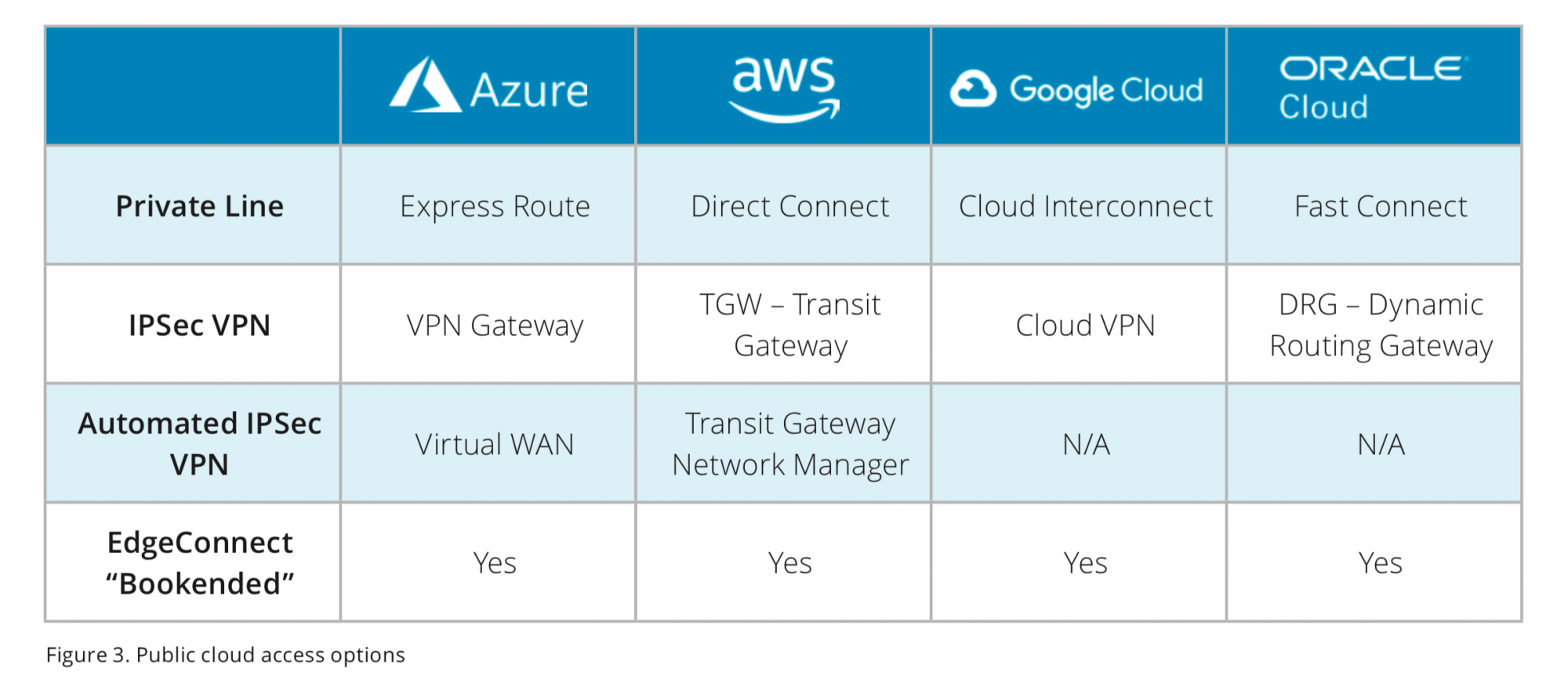 Figure 3. Public cloud access options